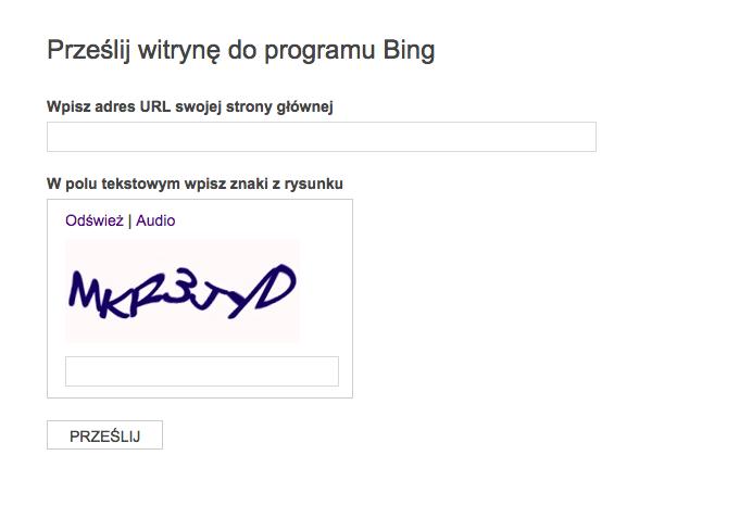 jak dodać stronę do Bing