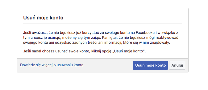 usuń konto na facebooku