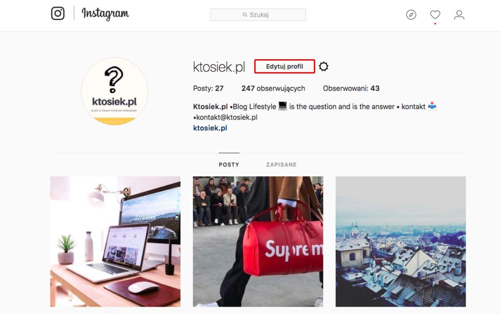 edycja profilu instagram