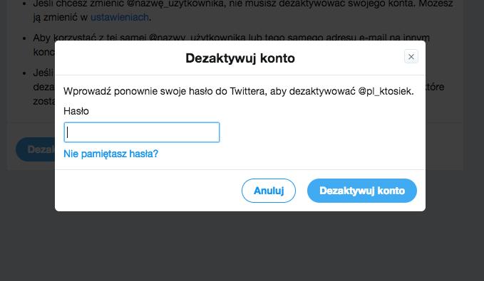 dezaktywacja konta na twitterze
