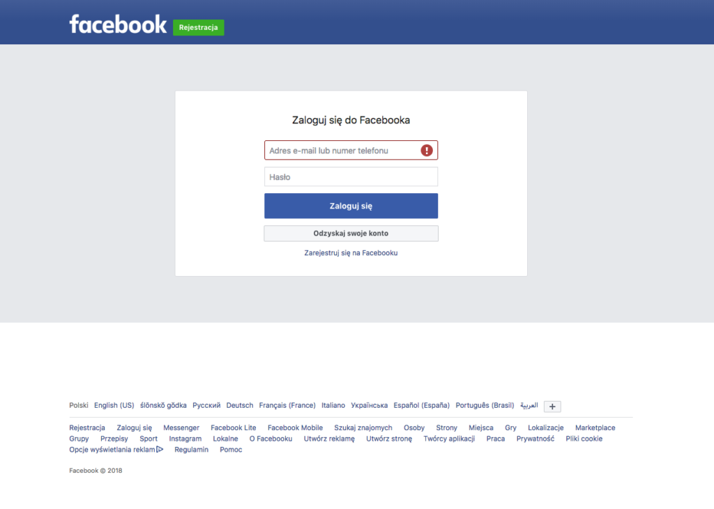 Facebook - logowanie