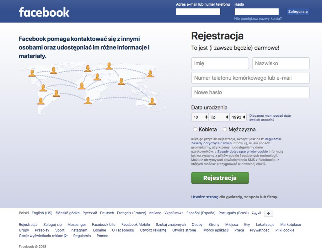 Facebook - rejestracja
