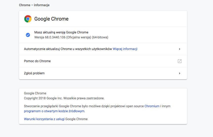 wersja przeglądarki Google Chrome