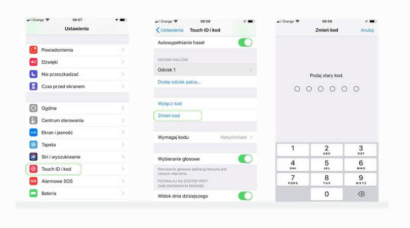 zmiana kodu blokady ekranu iphone