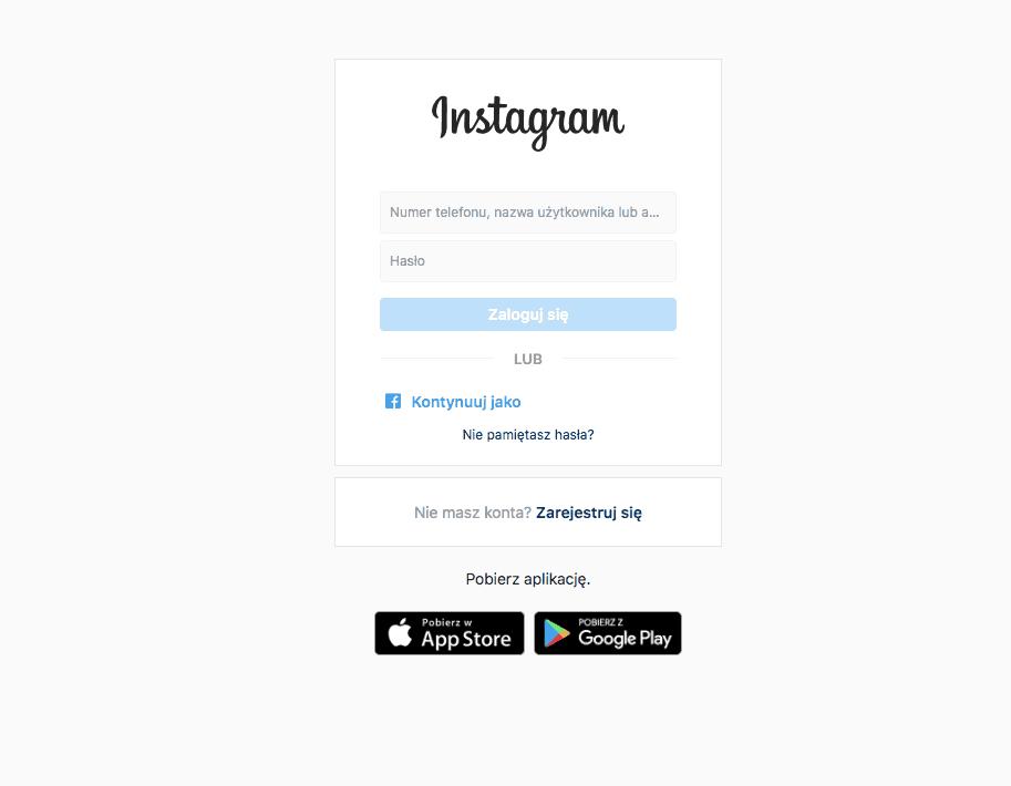 Logowanie do Instagrama