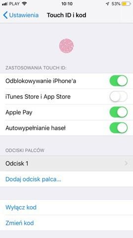 Ustawienia Touch ID - iPhone