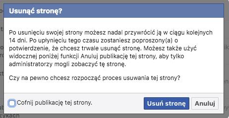 kasowanie fanpage FB