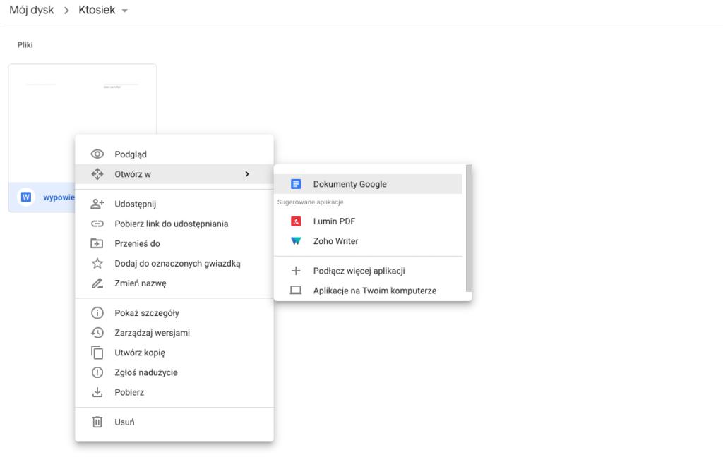 otwarcie pliku docx w Dokumenty Google