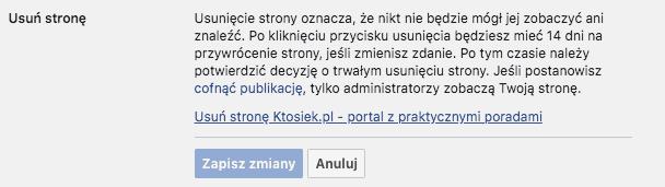 usuń stronę facebook