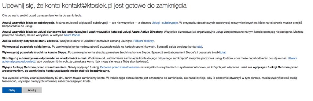 usuwanie konta Microsoft