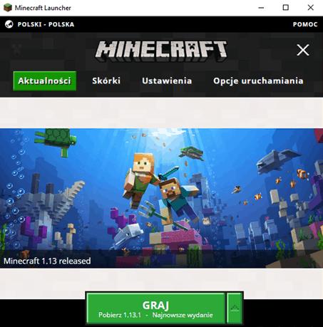 Luncher gry Minecraft